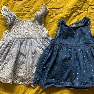 Baby Gap girl dresses blue white polka dot lace